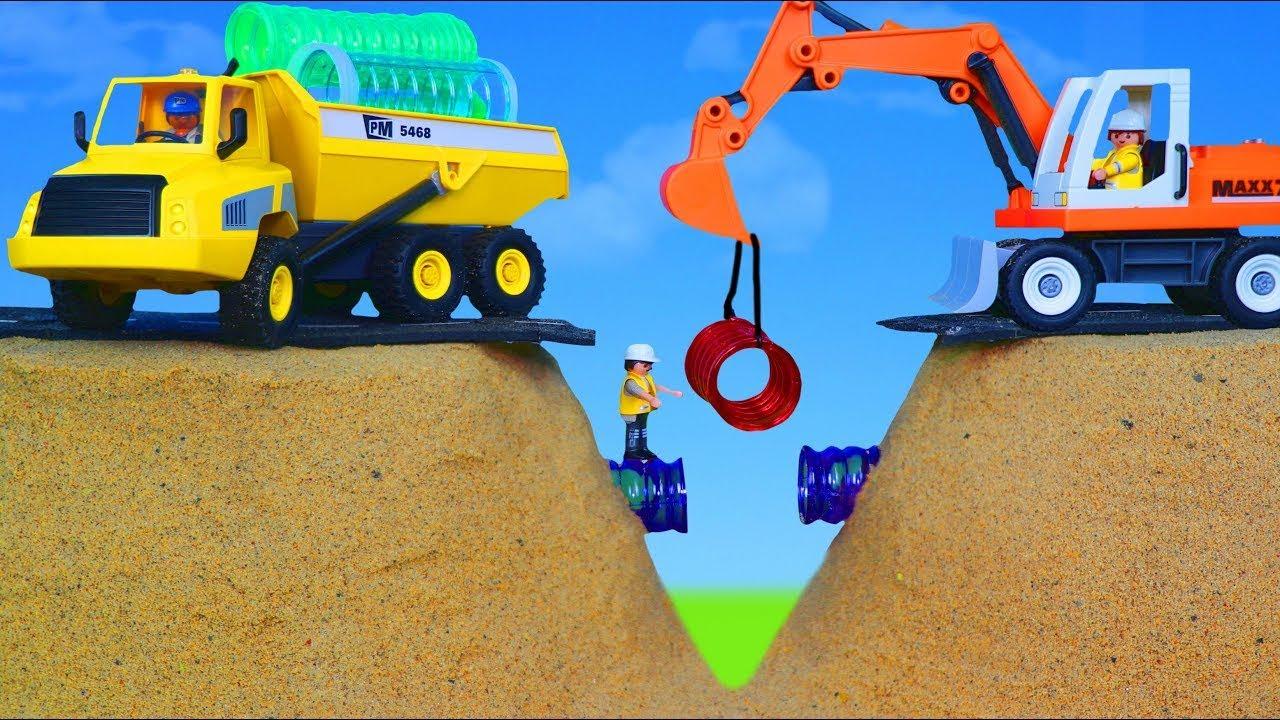 Playmobil City Life Ekskavatör ve kamyon oyuncakları çocuklar için yolu onarır - Excavator Toys