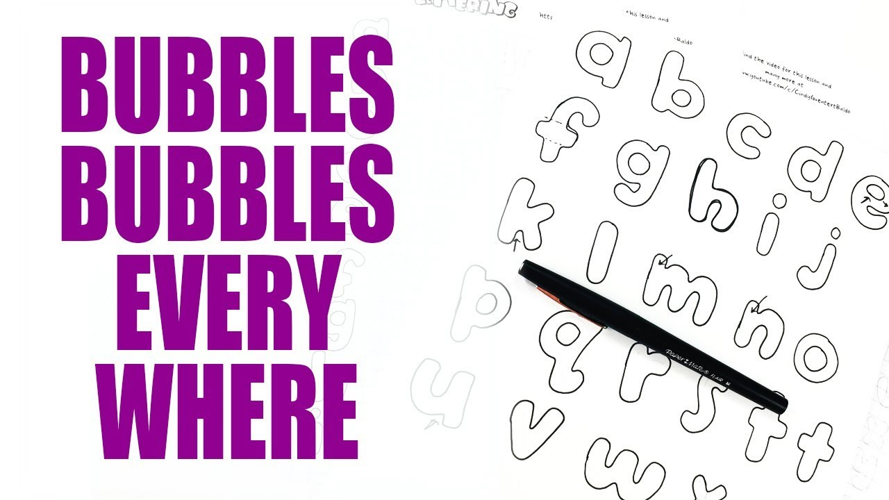 bubble letters tutorial | lowercase | llamas love lettering 2.10