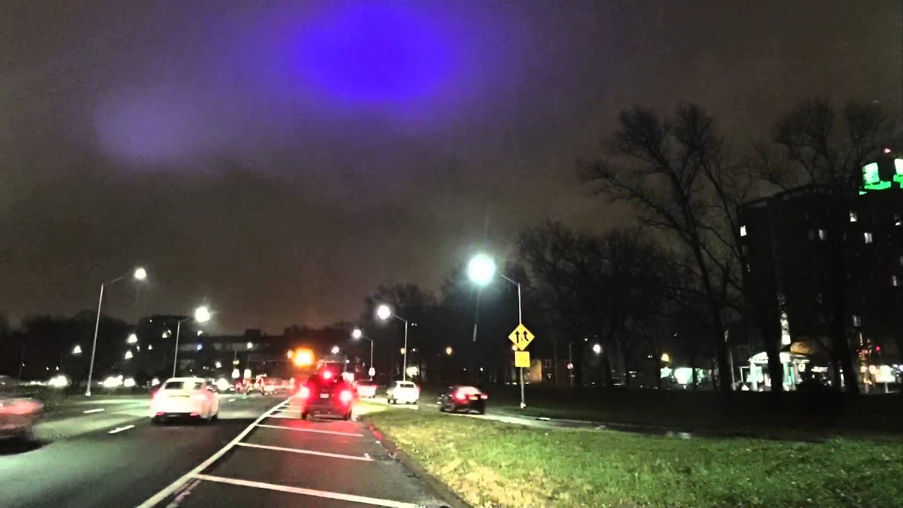 & Blue light in night sky Queens NYC - YouTube