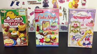 Re-ment blind boxes Gudetama Sanrio , Sailor Moon Cafe Sweets & Snoopy's Cake Shop Peanuts