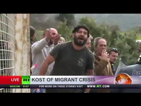 Greek police use tear gas at protest against refugee screening center