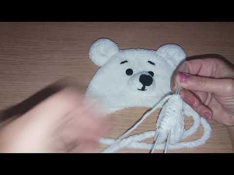 Шапочка медвежонок с ушками спицами