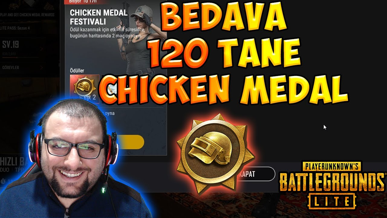 PUBG LİTE BEDAVA 120 TANE CHICKEN MEDAL VE SANDIK - FREE CHICKEN MEDAL AND BOX