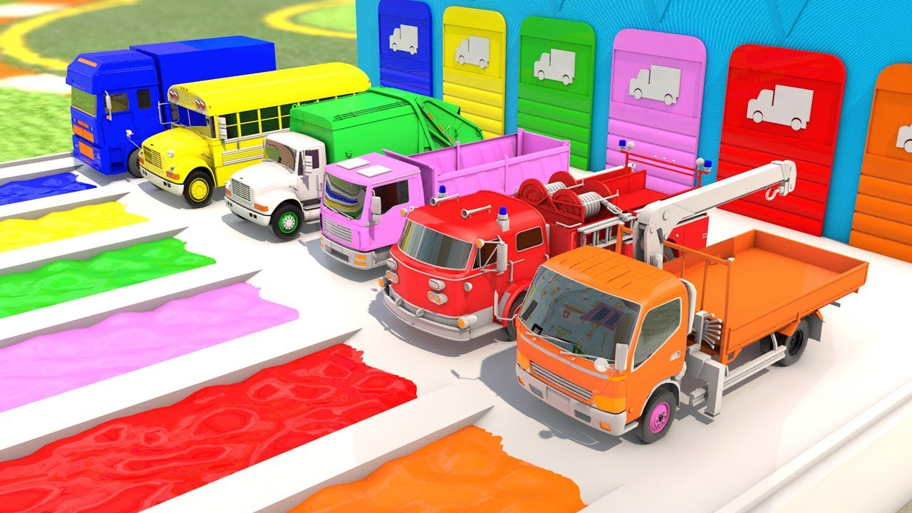Parking Color Cartoon with Trucks and Cars Water Slide ...