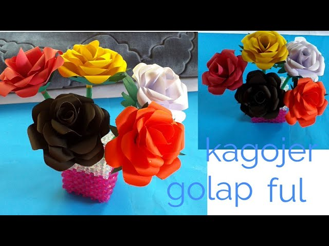 Kagojer Ful _Kagojer Golap Ful Banano _  How To Make Beautiful Craft Paper Rose Flower .