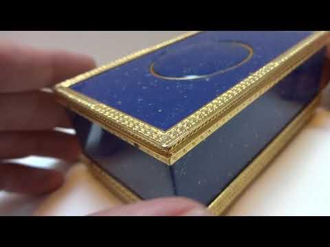 Vintage Reuge lapis lazuli singing bird box automaton