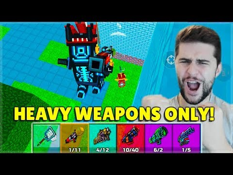 USING ONLY HEAVY WEAPONS IN BATTLE ROYALE CHALLENGE! | Pixel Gun 3D