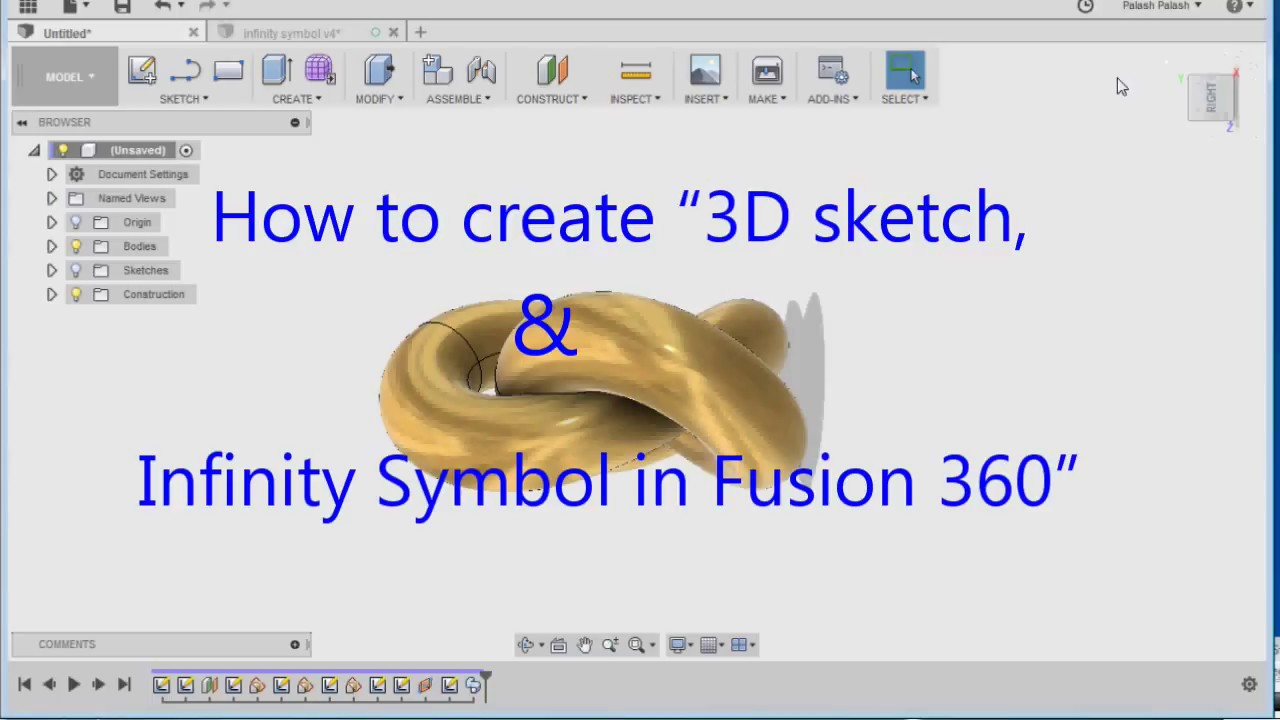 How to create 3D sketch & infinity Symbol in Fusion 360