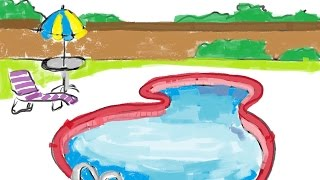How to draw a cartoon outdoor swimming pool within fence- Free & Easy Tutorial for Kids