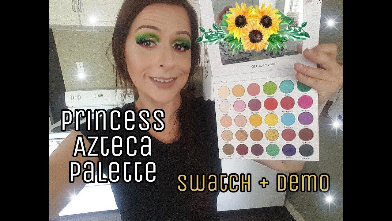Angelica Cepeda new princess azteca palette    glf cosmetics - swatches + demo #muacreator
