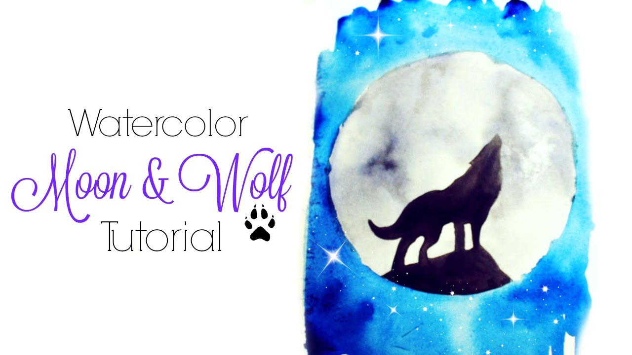 Easy Moon Wolf Watercolor Tutorial