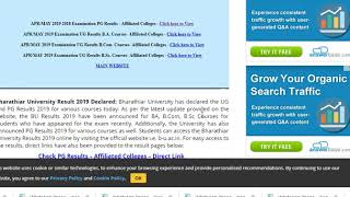 BU Results 2019 Bharathiar University Result 2019 Declared for UG, PG Courses,