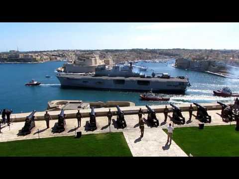 HMS 'Ocean' leaving Malta with a full-gun salute,12 March 2017