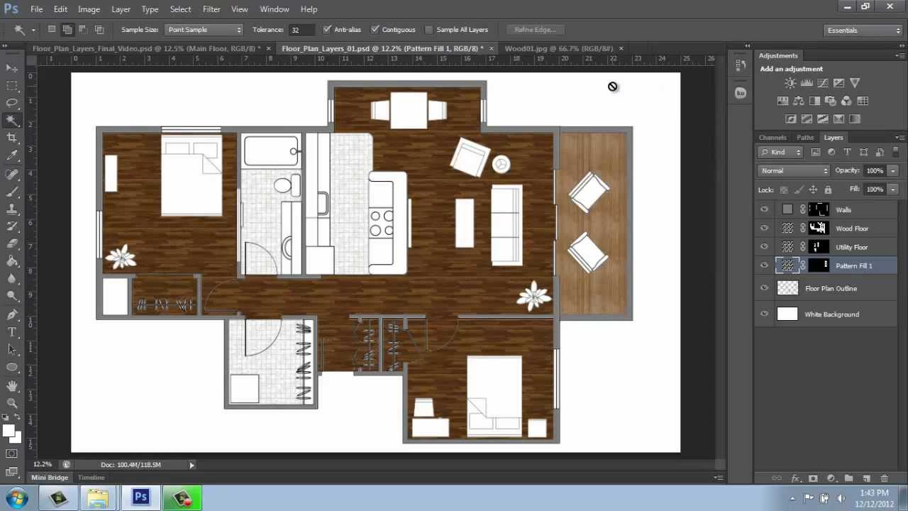 Adobe Photoshop CS6 - Rendering a Floor Plan - Part 3 ...