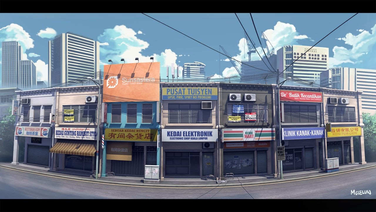 anime background art city