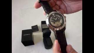 7759944eb0a Emporio Armani Mens AR4640 Meccanico Black Stainless-Steel Watch ...