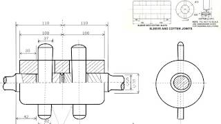 CBSE Class XII  Engineering Graphics   SLEEVE AND COTTER JOINTS Assembly Drawing