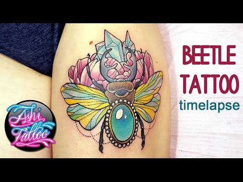 Neotraditional Beetle Thigh Tattoo Time Lapse Youtube