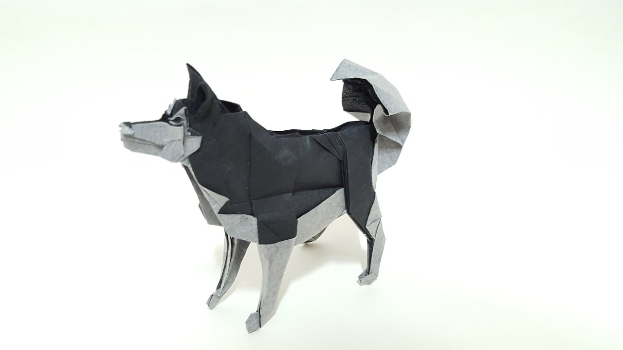 Origami - siberian husky dog (tutorial)