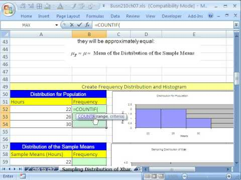 Excel Statistics 76: Sampling Distribution Of Sample Mean ...