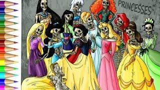 how to draw disney princess Zombie Fun Arts for Kids Speed Drawing and Coloring Video
