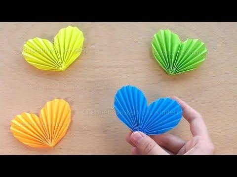 Herz basteln mit Kindern - Herz falten mit Papier - Geschenk selber machen - DIY Origami Bastelideen