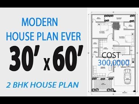 30 X 60 West House Plan,6 Marla House Map II 2bhk Modern ...