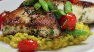 Pan Seared Swordfish Over Saffron Risotto At Brandl. Restaurant  Fresh Catch Friday 12-30-11.mov