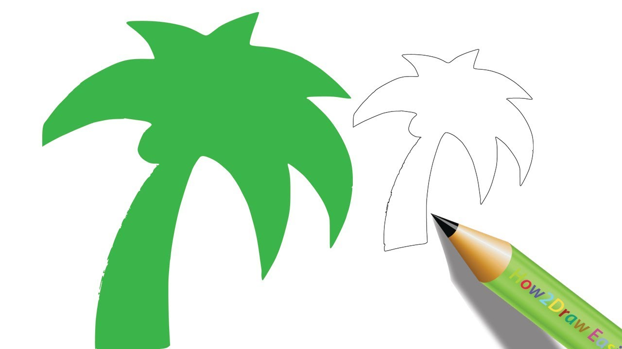 How to Draw a Palm Tree | Easy Step by Step Drawing - Coloring Page ...
