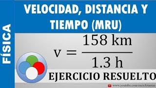 EJERCICIO RESUELTO DE VELOCIDAD, DISTANCIA Y TIEMPO (MRU)