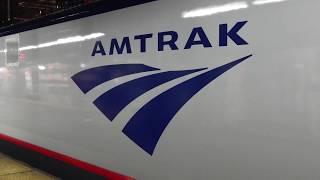 A few trains Departing Penn Station Ny. Amtrak, Njt, LIRR