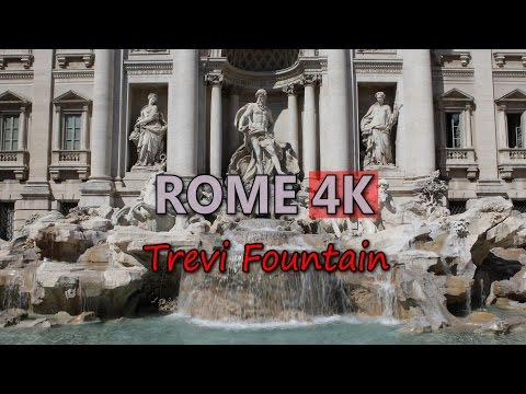 Ultra HD 4K Rome Travel Trevi Fountain Italy Tourism Sightseeing Attractions UHD Video Stock Footage