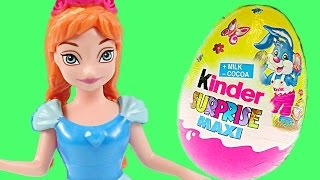 Surprise Egg Hunting with Disney Frozen Princess Play Doh Peppa Pig Giant Kinder Surprise Maxi Eggs