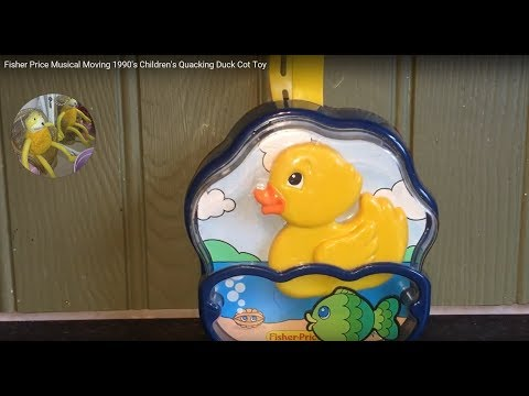 Fisher Price Musical Moving 1990's Children's Quacking Duck Cot Toy