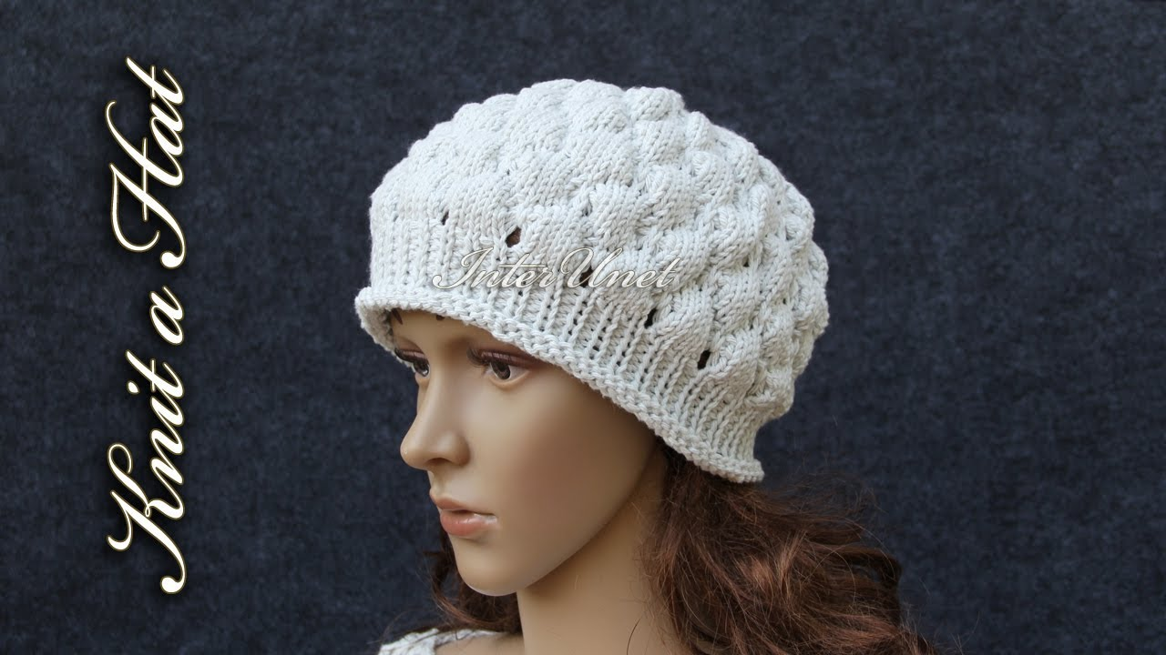 How to knit a hat – bobble stitch hat knitting pattern - YouTube