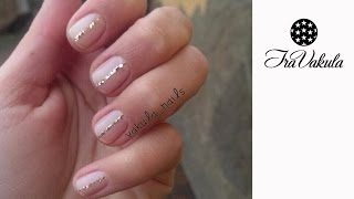 Gold Glitter string Nail Art - Дизайн ногтей: Полоска из золотых блесток