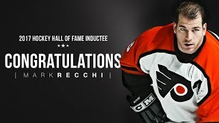 Three-time Stanley Cup champion Mark Recchi is enshrined into the Hockey Hall of Fame