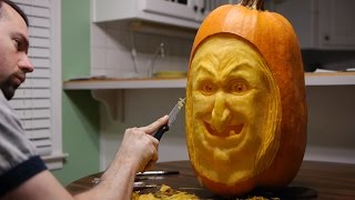 "3D Pumpkin Carving - ""The Old Hag"" - (time lapse)"