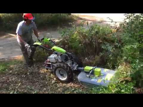 Brush mowing with Grillo G110d two wheel tractor and a Bellon Mower deck
