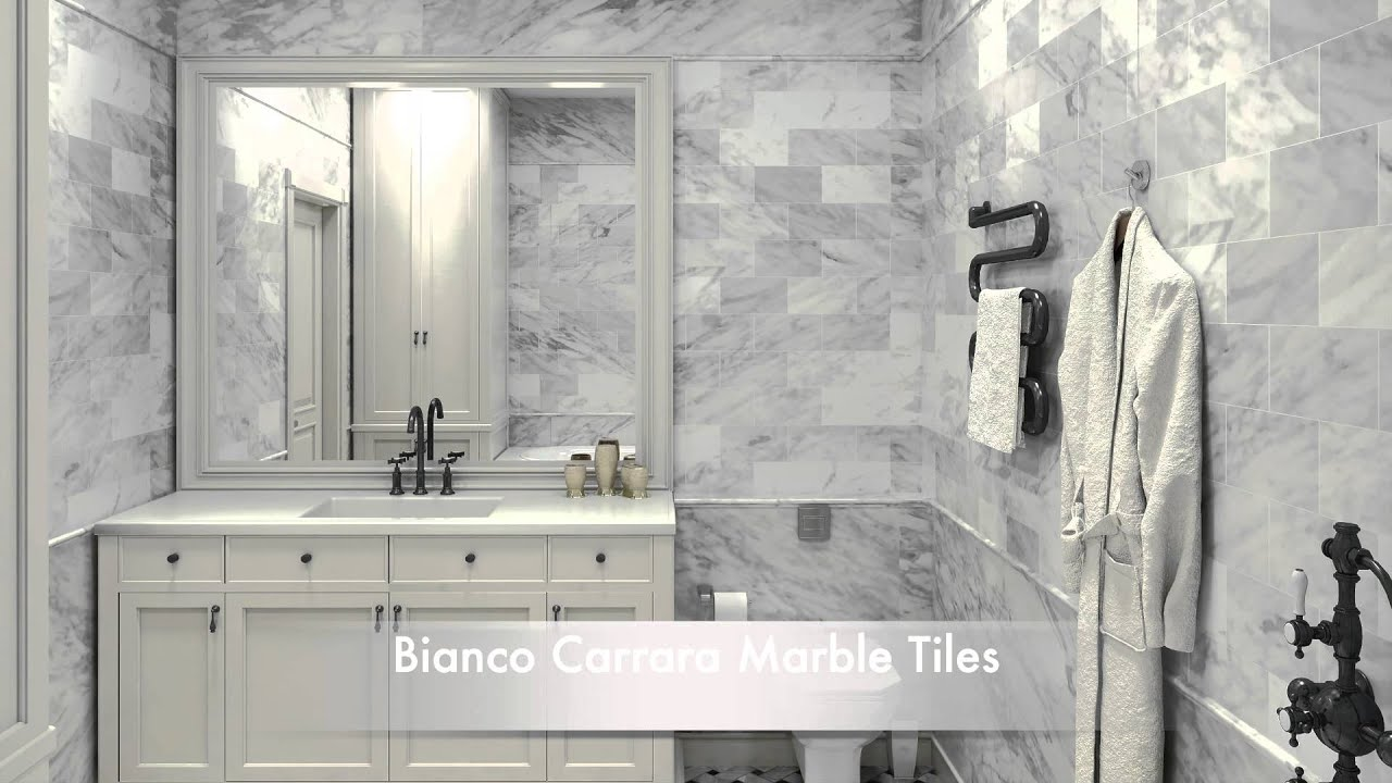 Bathroom Tile Ideas White Carrara Marble Tiles And Calacatta Gold Marble  Tiles   YouTube