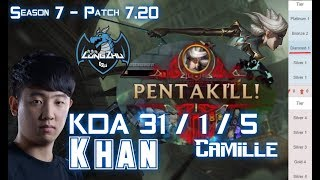LZ Khan CAMILLE Vs MORDEKAISER Top - Patch 7.20 KR Flex Rank