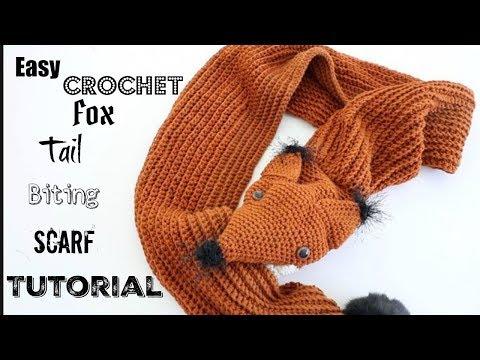 Crochet Tail Biting Fox Scarf