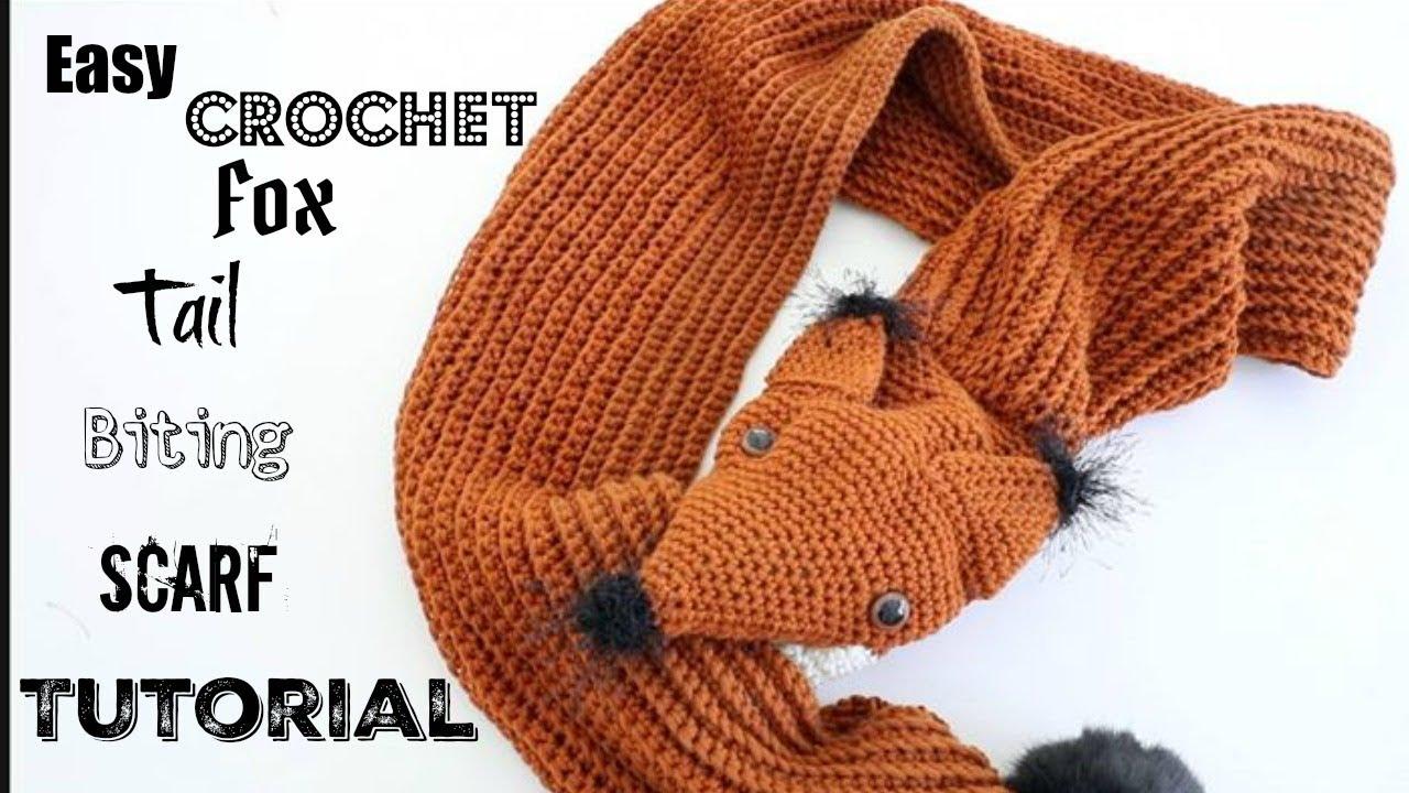 Crochet Tail Biting Fox Scarf Youtube