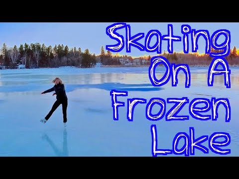 Skating On a Frozen Canadian Lake - Awesome! Beautiful! Dron