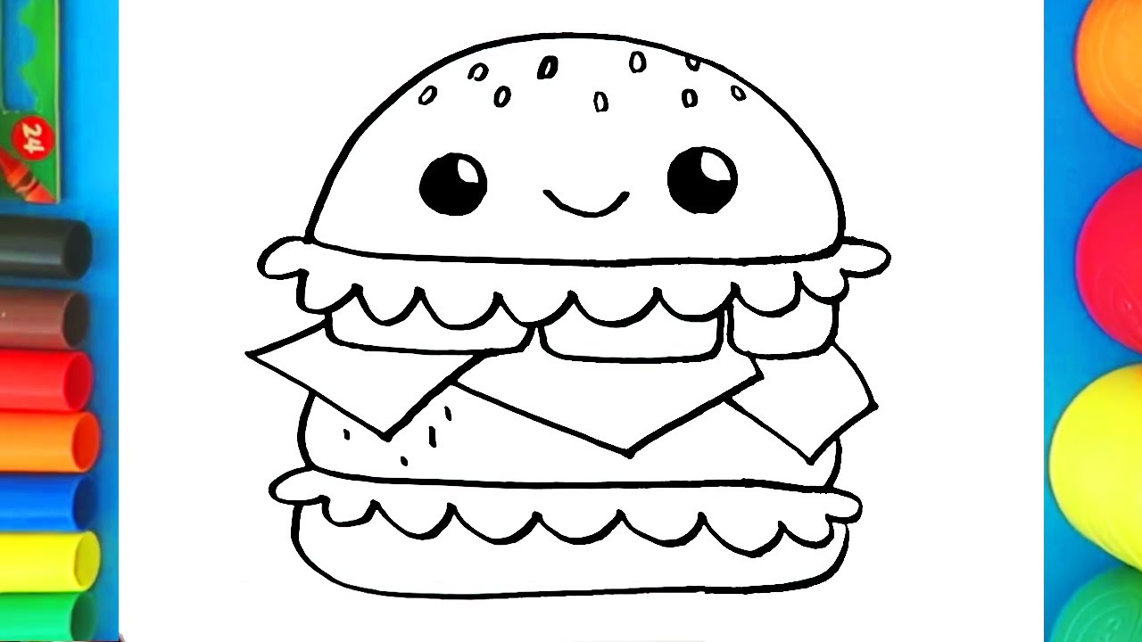 How to Draw and Color a Burger - Coloring Page for kids ...