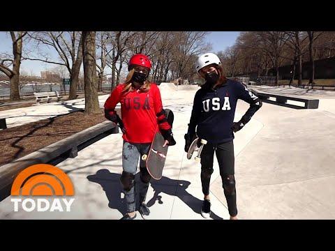 Hoda & Jenna Try Skateboarding   TODAY