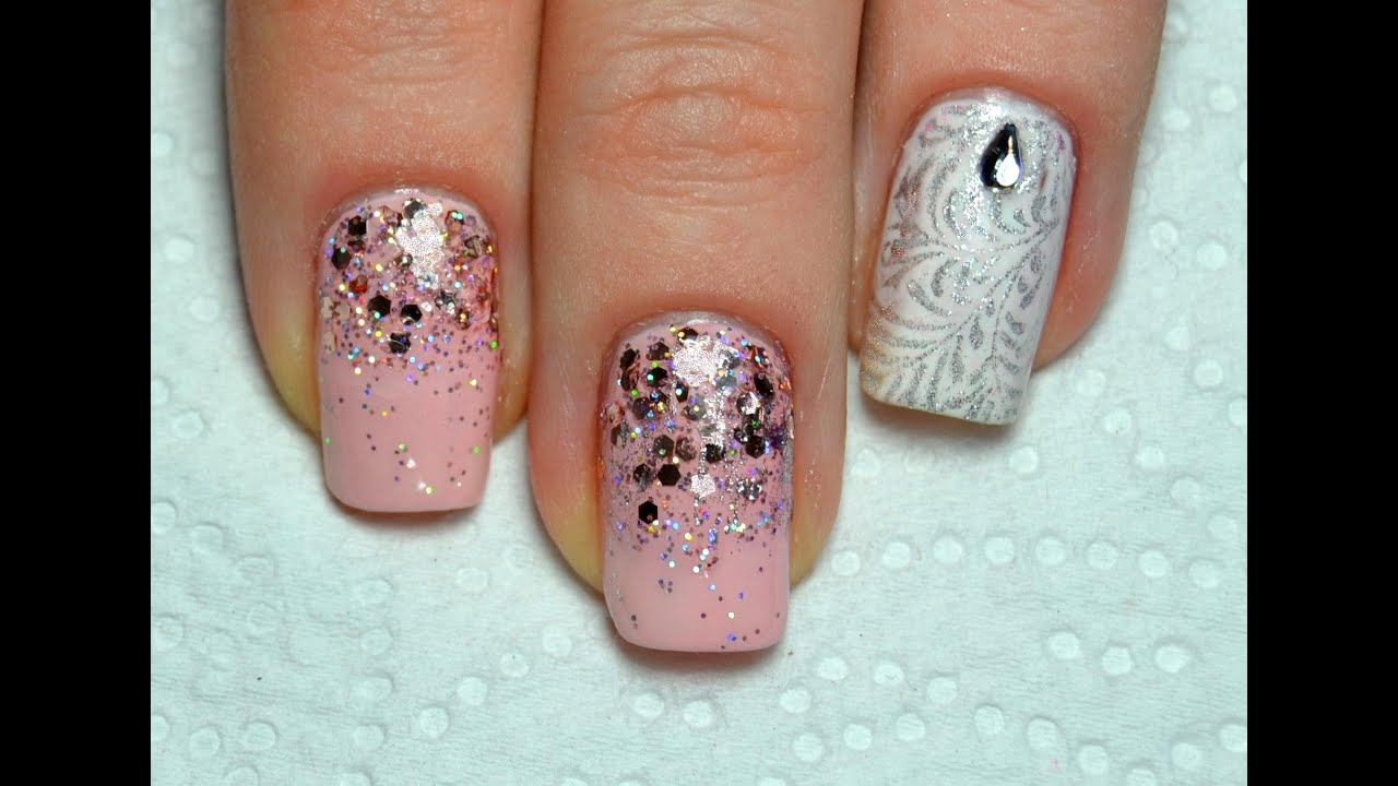 Easy Falling Glitter Nails and Konad Stamping Design / Маникюр ...