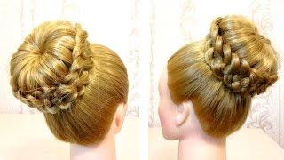 Прическа с бубликом. Прическа с плетением. Видео урок 3. Braided hairstyle.(Канал с прическами http://www.youtube.com/user/LiliaLady777 Предлагаю вам коллекцию оригинальных и красивых причесок.В этом..., 2015-04-04T06:16:47.000Z)