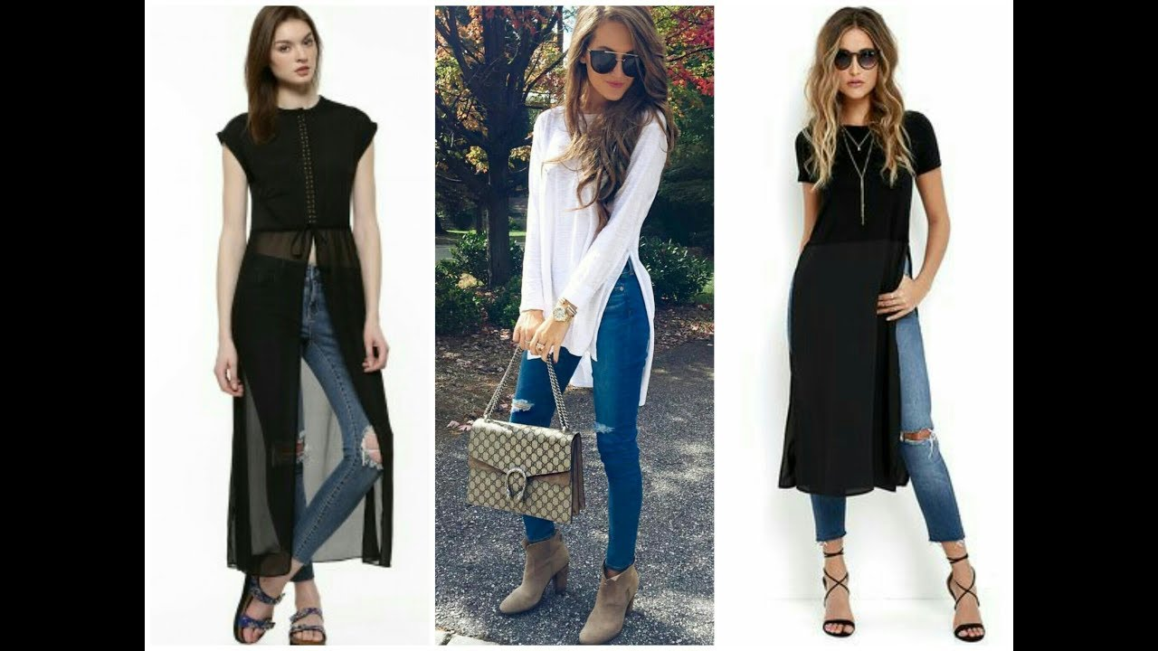 Top Latest Beautiful Long Shirt With Jeans Fashion Trend For Girls Womens 2017