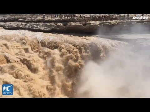 LIVE: Drone footage shows dazzling Hukou Waterfall in NW China